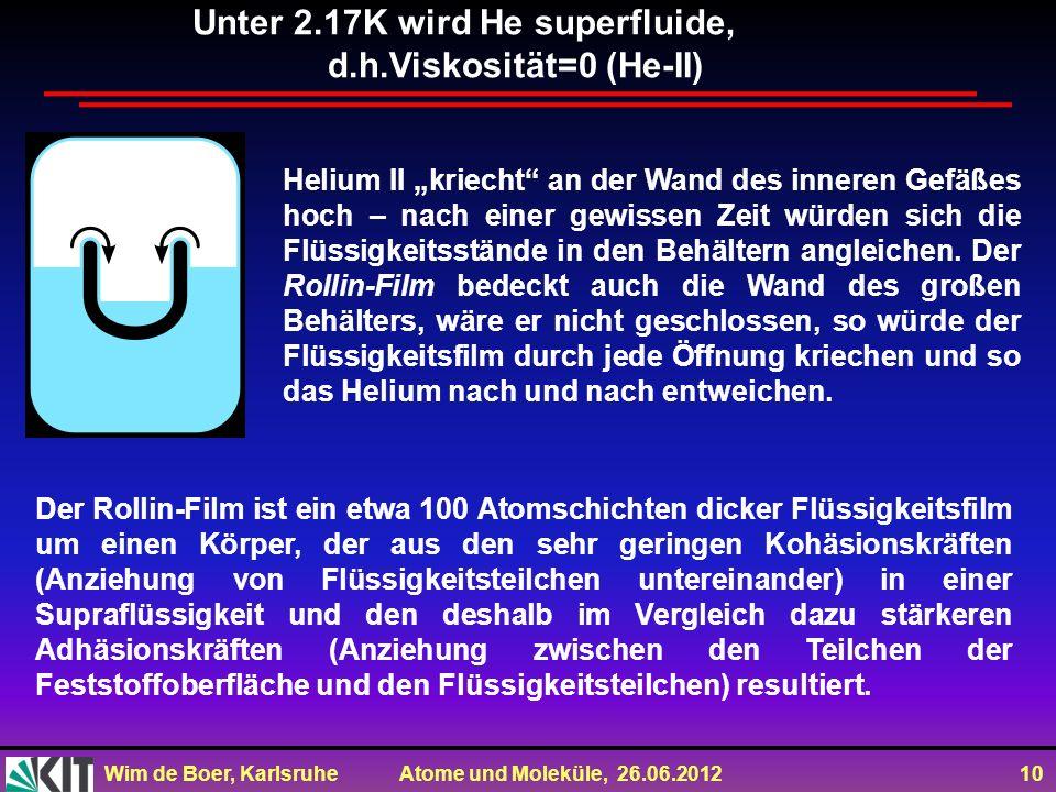Wim de Boer, Karlsruhe Atome und Moleküle, 26.06.2012 10 Helium II kriecht an der Wand des inneren Gefäßes hoch – nach einer gewissen Zeit würden sich die Flüssigkeitsstände in den Behältern angleichen.