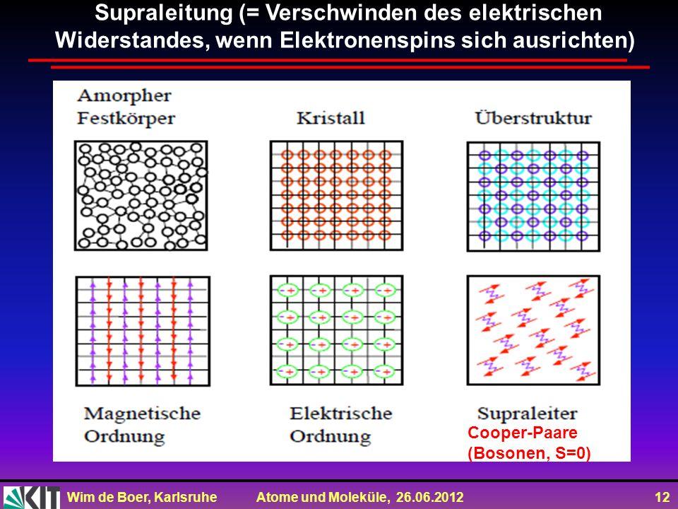 Wim de Boer, Karlsruhe Atome und Moleküle, 26.06.2012 12 Supraleitung (= Verschwinden des elektrischen Widerstandes, wenn Elektronenspins sich ausrichten) Cooper-Paare (Bosonen, S=0)