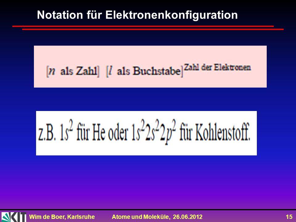 Wim de Boer, Karlsruhe Atome und Moleküle, 26.06.2012 15 Notation für Elektronenkonfiguration