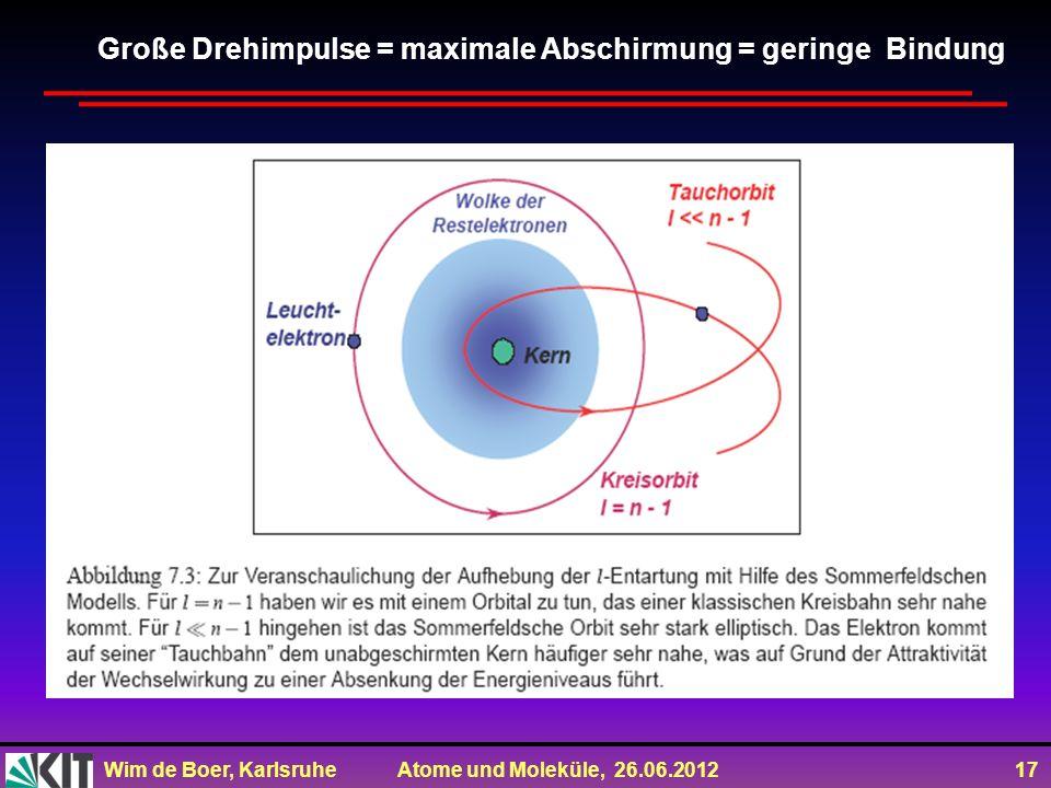 Wim de Boer, Karlsruhe Atome und Moleküle, 26.06.2012 17 Große Drehimpulse = maximale Abschirmung = geringe Bindung