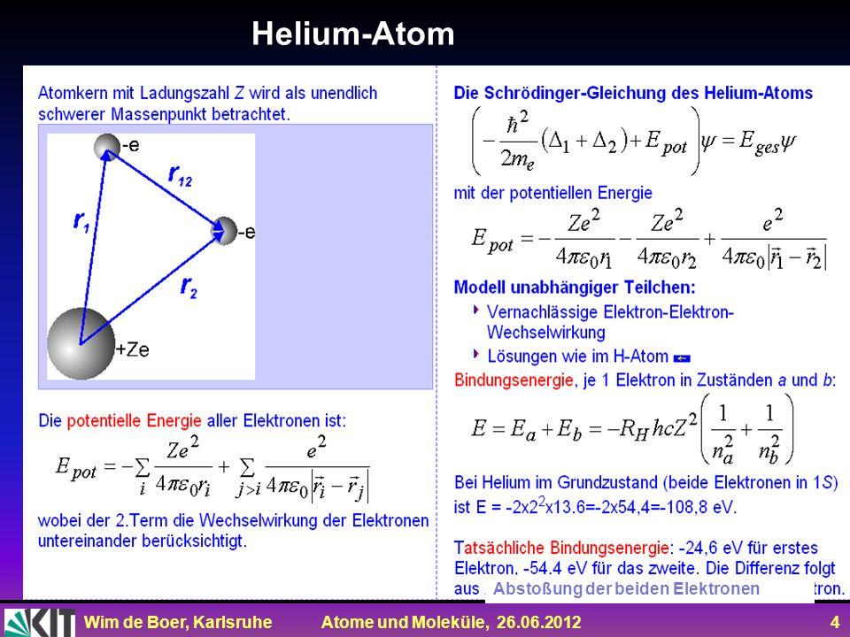Wim de Boer, Karlsruhe Atome und Moleküle, 26.06.2012 4 Helium-Atom Abstoßung der beiden Elektronen
