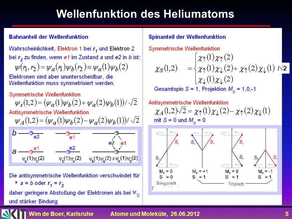 Wim de Boer, Karlsruhe Atome und Moleküle, 26.06.2012 5 Wellenfunktion des Heliumatoms Anti /2