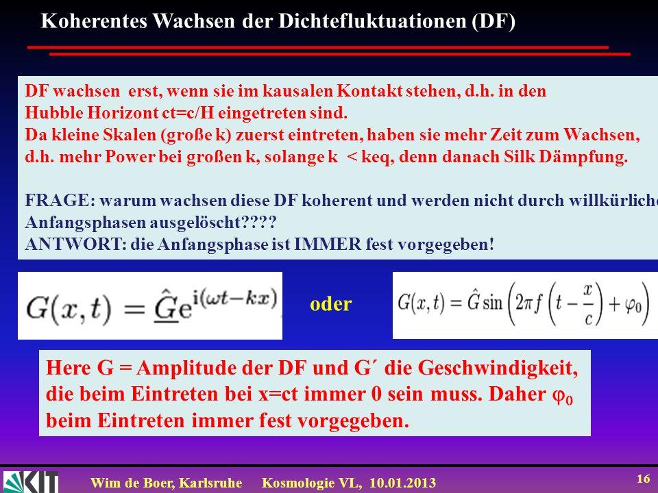 Wim de Boer, KarlsruheKosmologie VL, 10.01.2013 16 Koherentes Wachsen der Dichtefluktuationen (DF) DF wachsen erst, wenn sie im kausalen Kontakt stehe