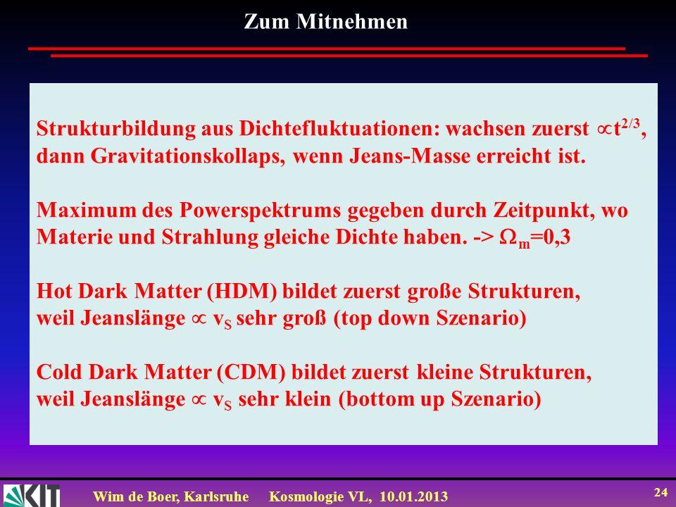 Wim de Boer, KarlsruheKosmologie VL, 10.01.2013 24 Strukturbildung aus Dichtefluktuationen: wachsen zuerst t 2/3, dann Gravitationskollaps, wenn Jeans
