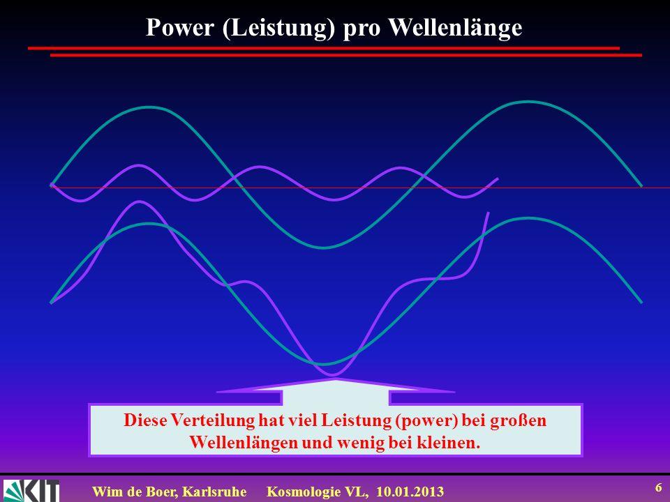 Wim de Boer, KarlsruheKosmologie VL, 10.01.2013 6 Diese Verteilung hat viel Leistung (power) bei großen Wellenlängen und wenig bei kleinen. Power (Lei