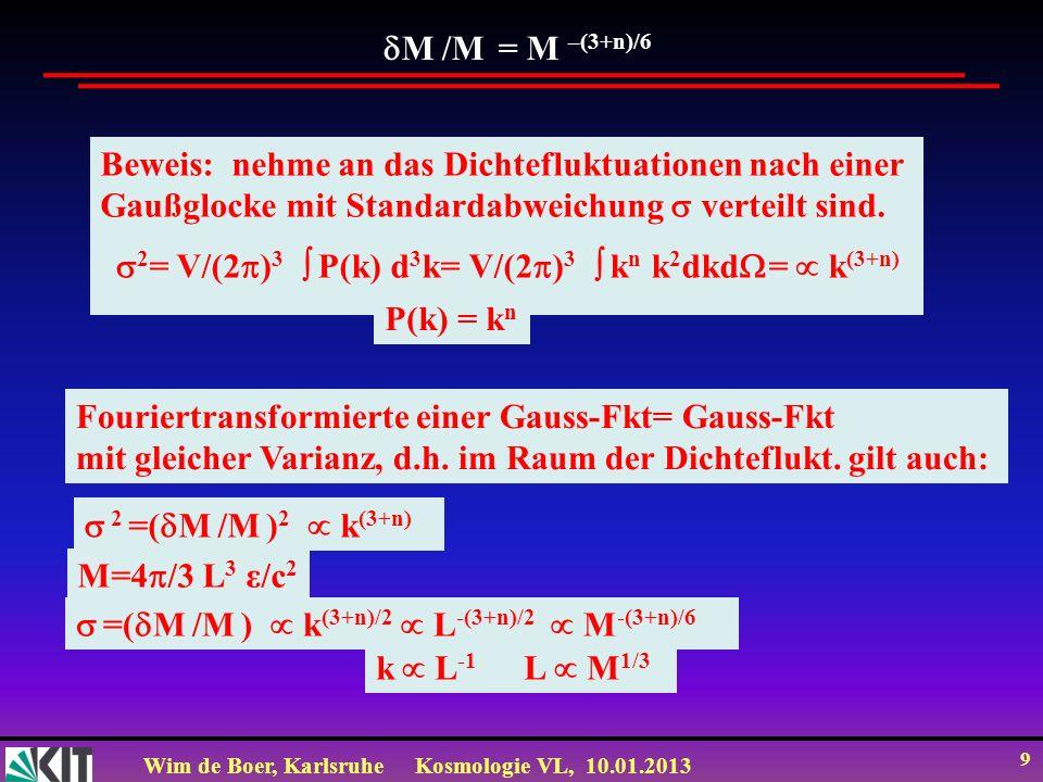 Wim de Boer, KarlsruheKosmologie VL, 10.01.2013 9 M /M = M –(3+n)/6 Beweis: nehme an das Dichtefluktuationen nach einer Gaußglocke mit Standardabweich