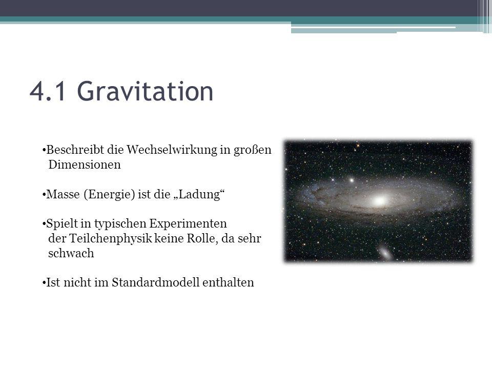 4.1 Gravitation Beschreibt die Wechselwirkung in großen Dimensionen Masse (Energie) ist die Ladung Spielt in typischen Experimenten der Teilchenphysik keine Rolle, da sehr schwach Ist nicht im Standardmodell enthalten