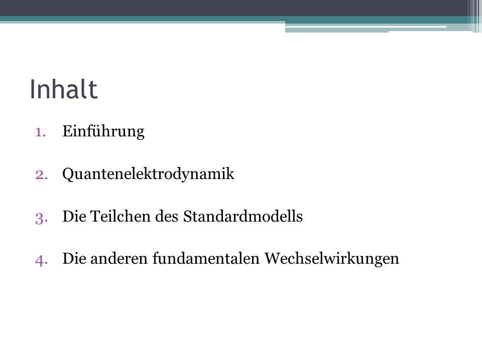Inhalt 1.Einführung 2.Quantenelektrodynamik 3.Die Teilchen des Standardmodells 4.Die anderen fundamentalen Wechselwirkungen