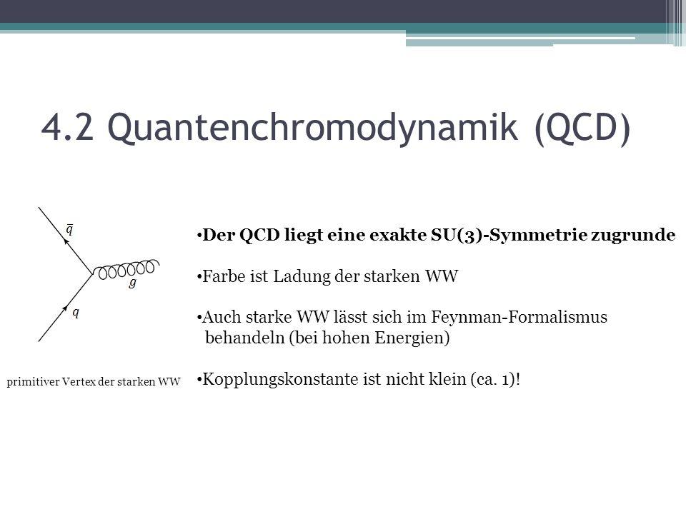 4.2 Quantenchromodynamik (QCD) primitiver Vertex der starken WW Der QCD liegt eine exakte SU(3)-Symmetrie zugrunde Farbe ist Ladung der starken WW Auch starke WW lässt sich im Feynman-Formalismus behandeln (bei hohen Energien) Kopplungskonstante ist nicht klein (ca.