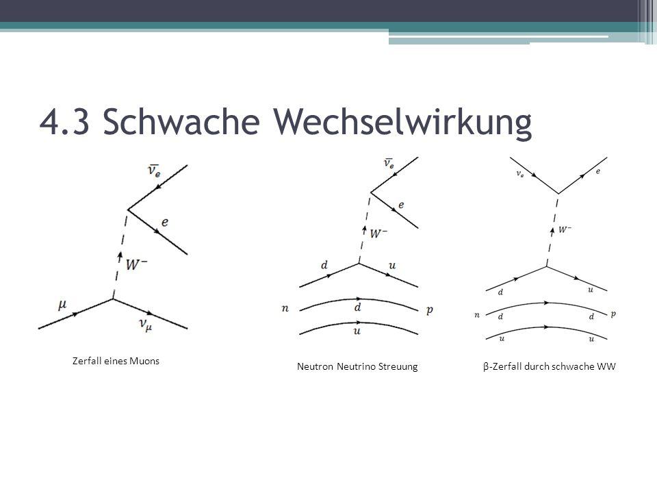 4.3 Schwache Wechselwirkung β-Zerfall durch schwache WW Zerfall eines Muons Neutron Neutrino Streuung