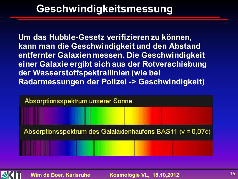 Wim de Boer, KarlsruheKosmologie VL, 18.10,2012 15 Geschwindigkeitsmessung Um das Hubble-Gesetz verifizieren zu können, kann man die Geschwindigkeit u