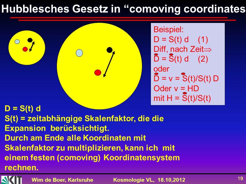 Wim de Boer, KarlsruheKosmologie VL, 18.10,2012 19 Hubblesches Gesetz in comoving coordinates d D D = S(t) d S(t) = zeitabhängige Skalenfaktor, die di