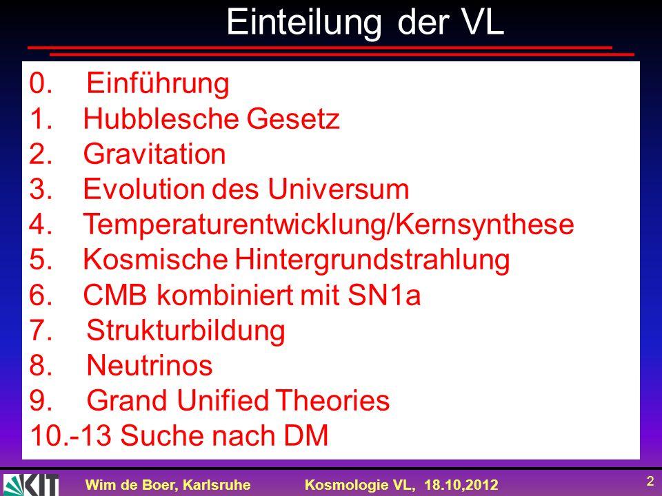 Wim de Boer, KarlsruheKosmologie VL, 18.10,2012 2 Einteilung der VL 0. Einführung 1.Hubblesche Gesetz 2.Gravitation 3.Evolution des Universum 4.Temper