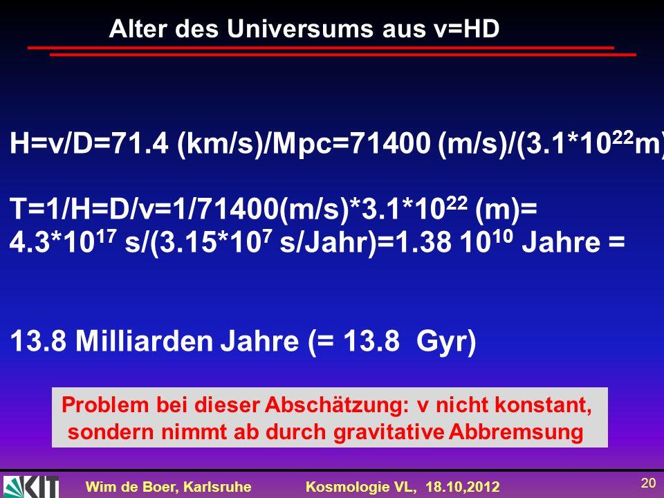 Wim de Boer, KarlsruheKosmologie VL, 18.10,2012 20 Alter des Universums aus v=HD H=v/D=71.4 (km/s)/Mpc=71400 (m/s)/(3.1*10 22 m) T=1/H=D/v=1/71400(m/s