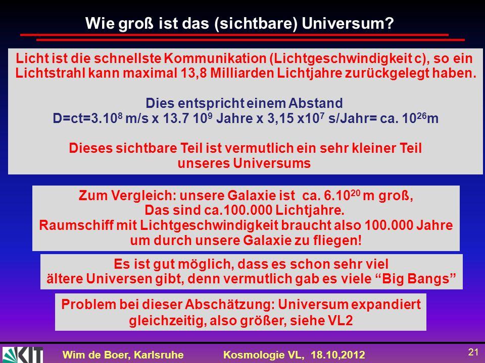 Wim de Boer, KarlsruheKosmologie VL, 18.10,2012 21 Wie groß ist das (sichtbare) Universum? Es ist gut möglich, dass es schon sehr viel ältere Universe
