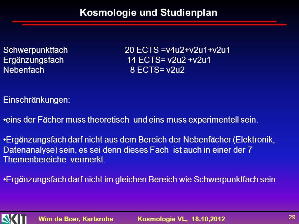 Wim de Boer, KarlsruheKosmologie VL, 18.10,2012 29 Schwerpunktfach 20 ECTS =v4u2+v2u1+v2u1 Erg ä nzungsfach 14 ECTS= v2u2 +v2u1 Nebenfach 8 ECTS= v2u2