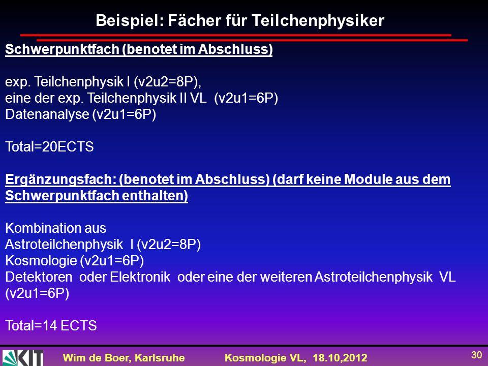 Wim de Boer, KarlsruheKosmologie VL, 18.10,2012 30 Schwerpunktfach (benotet im Abschluss) exp. Teilchenphysik I (v2u2=8P), eine der exp. Teilchenphysi