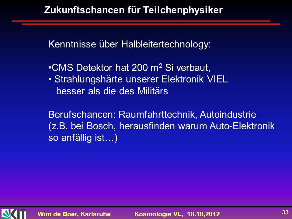 Wim de Boer, KarlsruheKosmologie VL, 18.10,2012 33 Zukunftschancen für Teilchenphysiker Kenntnisse über Halbleitertechnology: CMS Detektor hat 200 m 2
