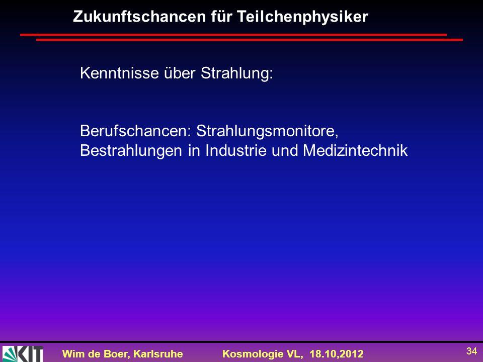 Wim de Boer, KarlsruheKosmologie VL, 18.10,2012 34 Zukunftschancen für Teilchenphysiker Kenntnisse über Strahlung: Berufschancen: Strahlungsmonitore,