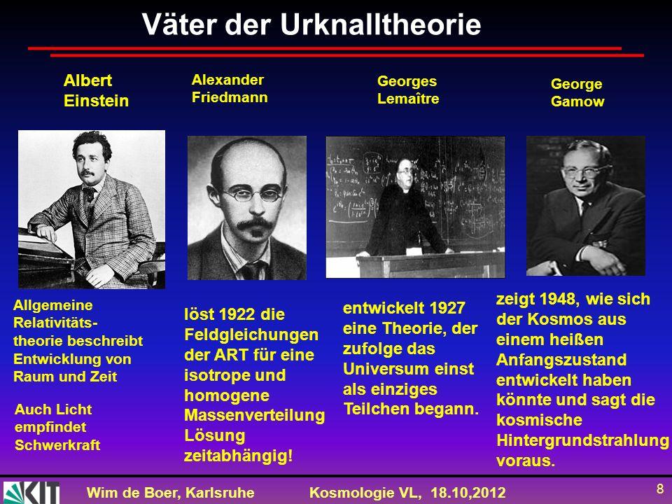 Wim de Boer, KarlsruheKosmologie VL, 18.10,2012 8 Allgemeine Relativitäts- theorie beschreibt Entwicklung von Raum und Zeit Auch Licht empfindet Schwe