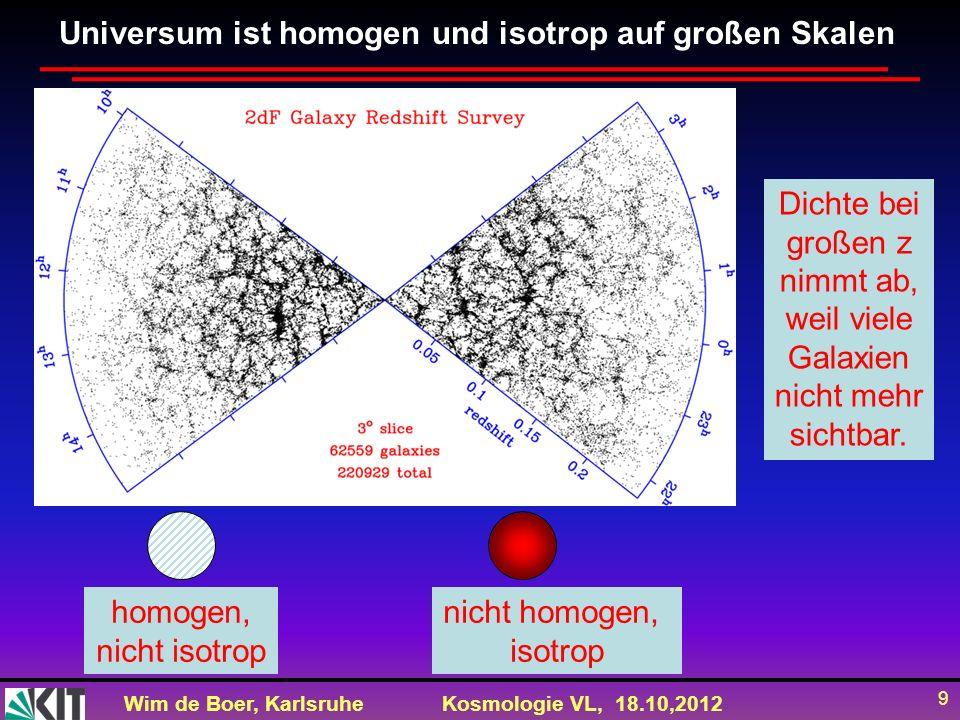 Wim de Boer, KarlsruheKosmologie VL, 18.10,2012 20 Alter des Universums aus v=HD H=v/D=71.4 (km/s)/Mpc=71400 (m/s)/(3.1*10 22 m) T=1/H=D/v=1/71400(m/s)*3.1*10 22 (m)= 4.3*10 17 s/(3.15*10 7 s/Jahr)=1.38 10 10 Jahre = 13.8 Milliarden Jahre (= 13.8 Gyr) Problem bei dieser Abschätzung: v nicht konstant, sondern nimmt ab durch gravitative Abbremsung