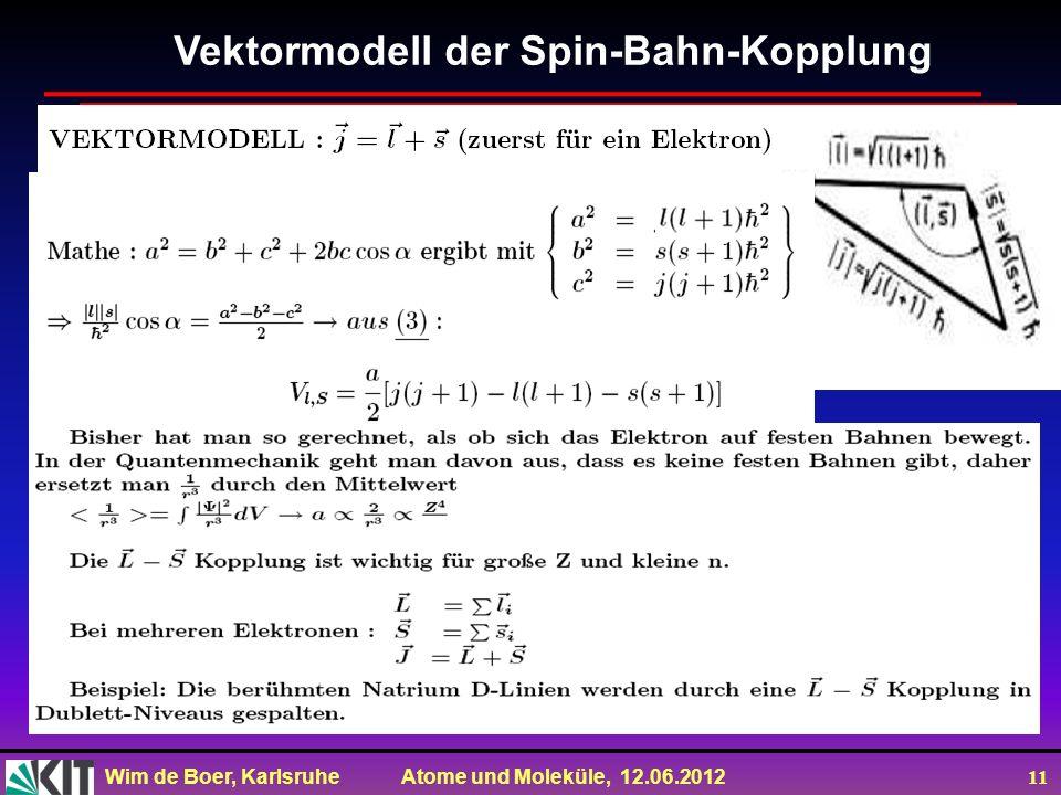 Wim de Boer, Karlsruhe Atome und Moleküle, 12.06.2012 11 Vektormodell der Spin-Bahn-Kopplung