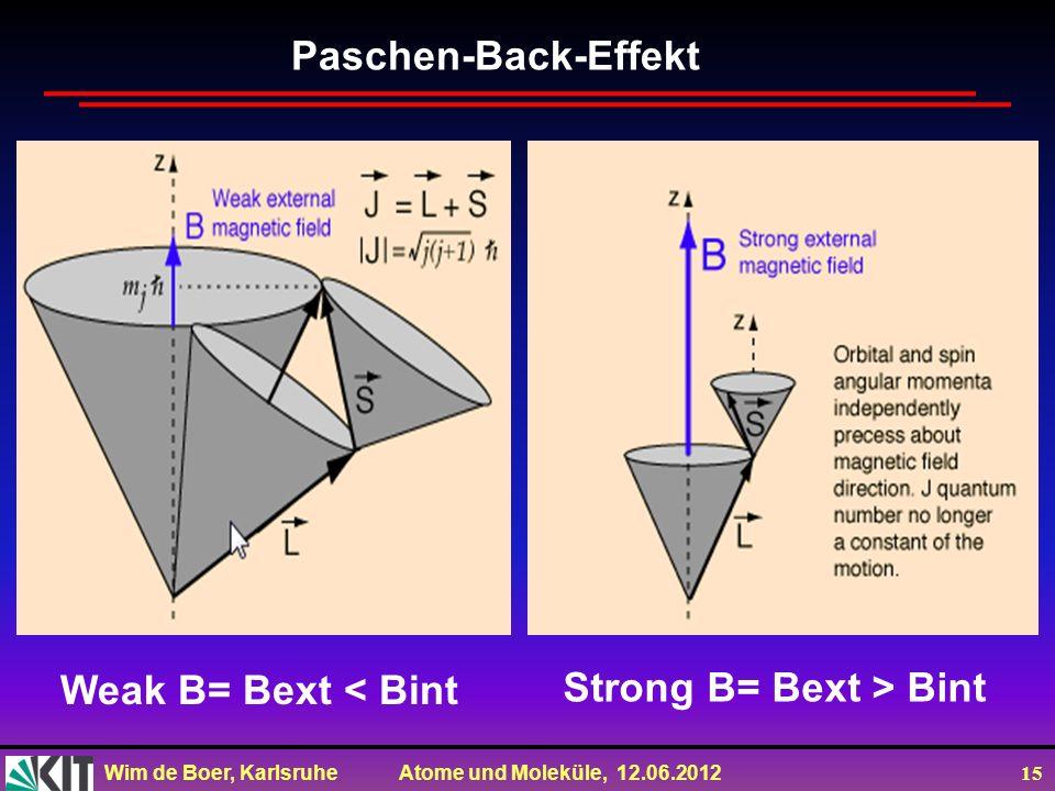 Wim de Boer, Karlsruhe Atome und Moleküle, 12.06.2012 15 Weak B= Bext < Bint Strong B= Bext > Bint Paschen-Back-Effekt