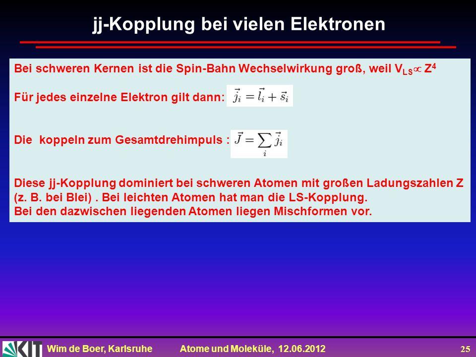 Wim de Boer, Karlsruhe Atome und Moleküle, 12.06.2012 25 Bei schweren Kernen ist die Spin-Bahn Wechselwirkung groß, weil V LS Z 4 Für jedes einzelne E