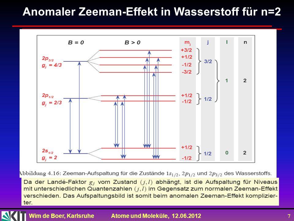 Wim de Boer, Karlsruhe Atome und Moleküle, 12.06.2012 7 Anomaler Zeeman-Effekt in Wasserstoff für n=2