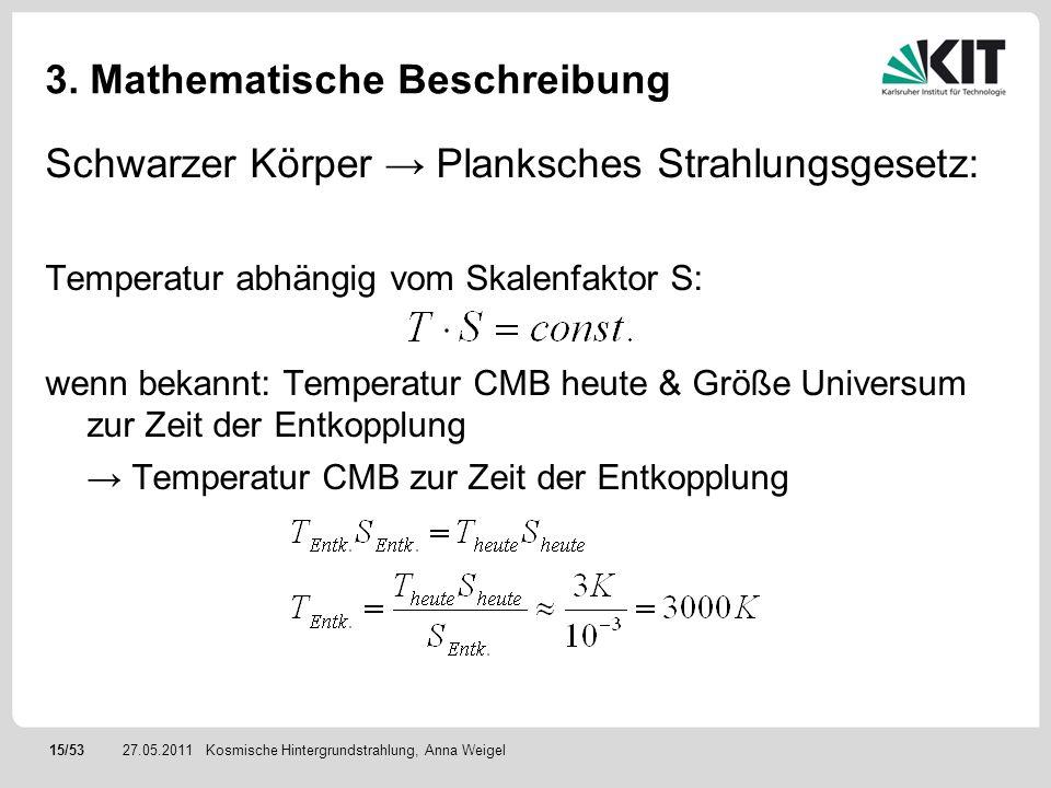 15/5327.05.2011 3. Mathematische Beschreibung Schwarzer Körper Planksches Strahlungsgesetz: Temperatur abhängig vom Skalenfaktor S: wenn bekannt: Temp