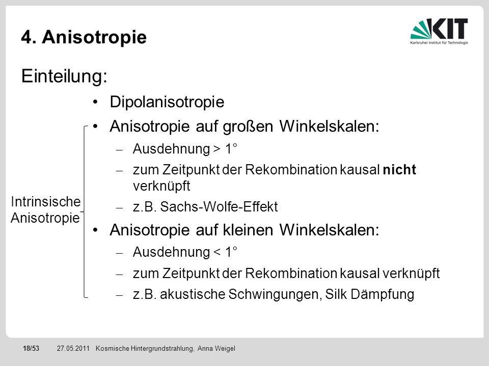 18/5327.05.2011 4. Anisotropie Kosmische Hintergrundstrahlung, Anna Weigel Einteilung: Dipolanisotropie Anisotropie auf großen Winkelskalen: Ausdehnun
