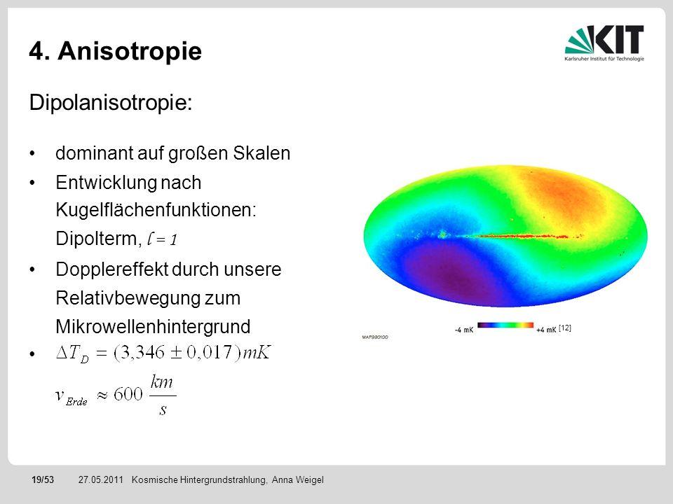 19/5327.05.2011 4. Anisotropie Dipolanisotropie: dominant auf großen Skalen Entwicklung nach Kugelflächenfunktionen: Dipolterm, l = 1 Dopplereffekt du