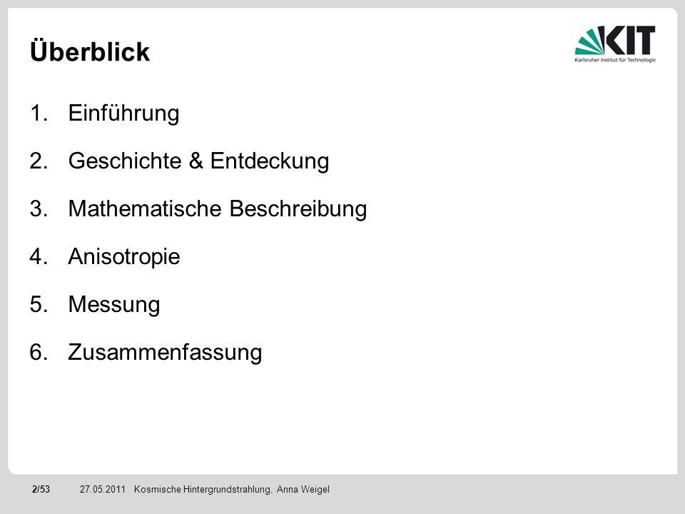 53/5327.05.2011 Abbildungsverzeichnis & Quellen Kosmische Hintergrundstrahlung, Anna Weigel Quellen: http://lambda.gsfc.nasa.gov/product/cobe/ http://www.esa.int/SPECIALS/Planck/index.html http://background.uchicago.edu/ Uni Karlsruhe, Hauptseminar Schlüsselexperimente der Elementarteilchenphysik, 2008, Vortrag von Stefan Braun: WMAP KIT, Hauptseminar Der Urknall und seine Teilchen, 2011, Vortrag von Alexander Bett: Die Temperaturentwicklung des Universums Teilchenastrophysik, H.V.