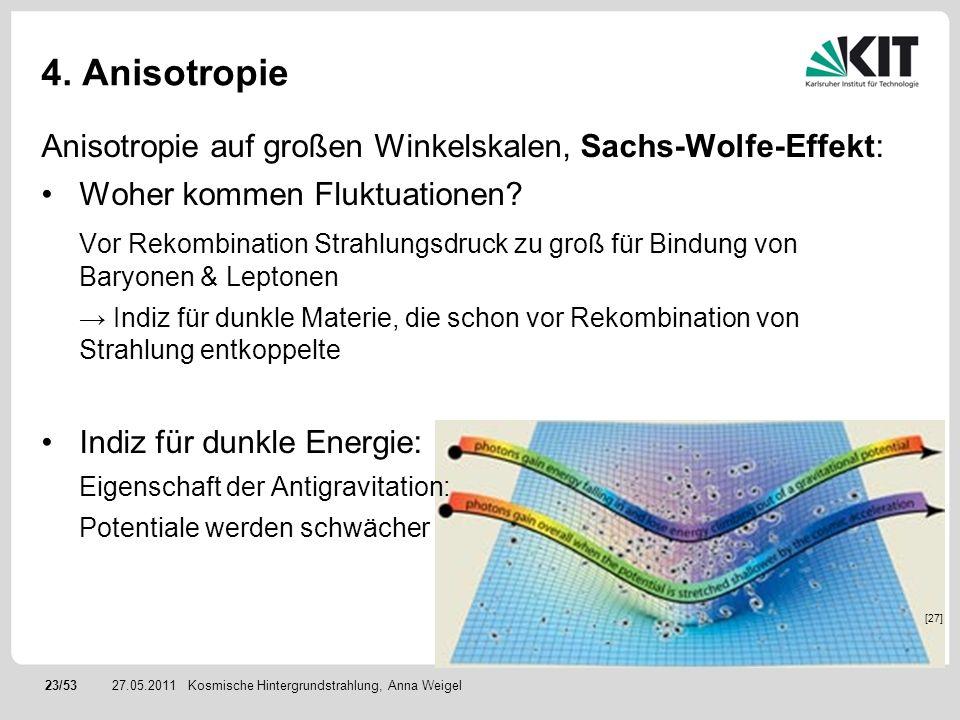 23/5327.05.2011 4. Anisotropie Anisotropie auf großen Winkelskalen, Sachs-Wolfe-Effekt: Woher kommen Fluktuationen? Vor Rekombination Strahlungsdruck