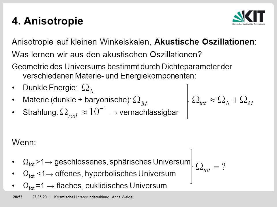 28/5327.05.2011 4. Anisotropie Anisotropie auf kleinen Winkelskalen, Akustische Oszillationen: Was lernen wir aus den akustischen Oszillationen? Geome