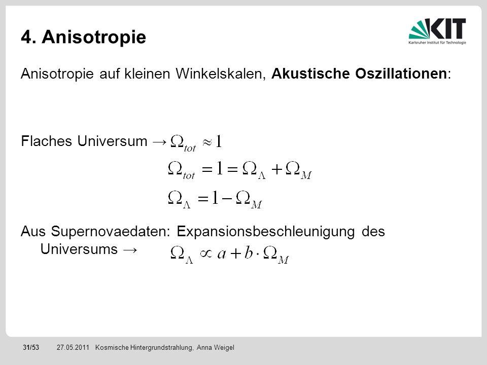 31/5327.05.2011 4. Anisotropie Anisotropie auf kleinen Winkelskalen, Akustische Oszillationen: Flaches Universum Aus Supernovaedaten: Expansionsbeschl