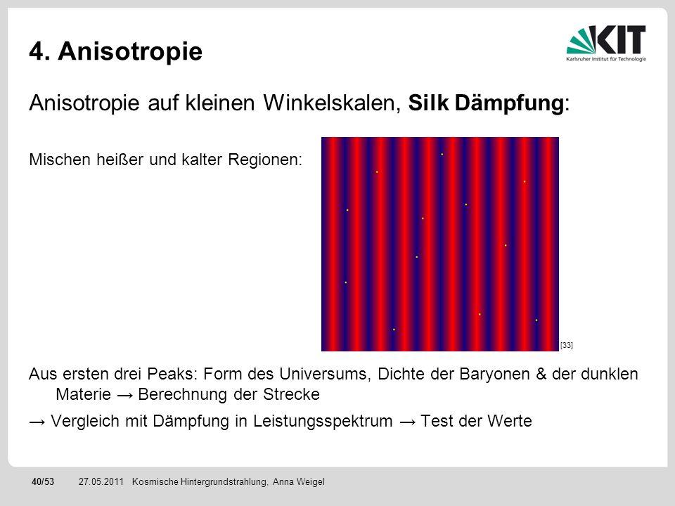 40/5327.05.2011 4. Anisotropie Anisotropie auf kleinen Winkelskalen, Silk Dämpfung: Mischen heißer und kalter Regionen: Aus ersten drei Peaks: Form de