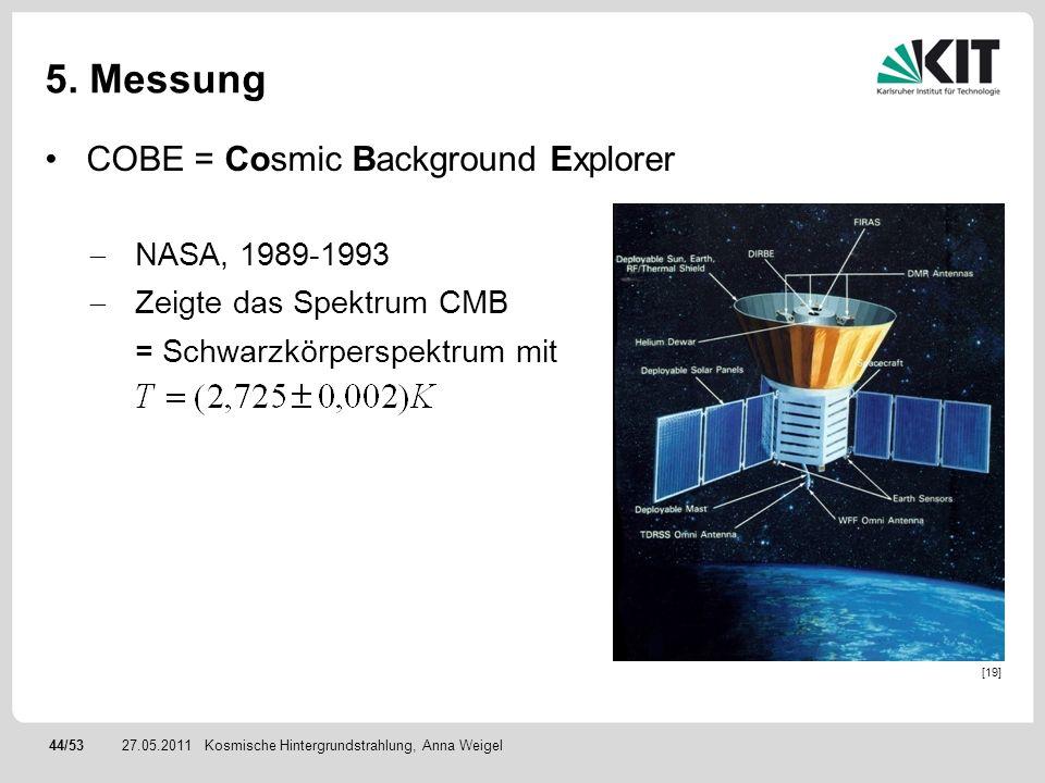 44/5327.05.2011 5. Messung COBE = Cosmic Background Explorer NASA, 1989-1993 Zeigte das Spektrum CMB = Schwarzkörperspektrum mit Kosmische Hintergrund