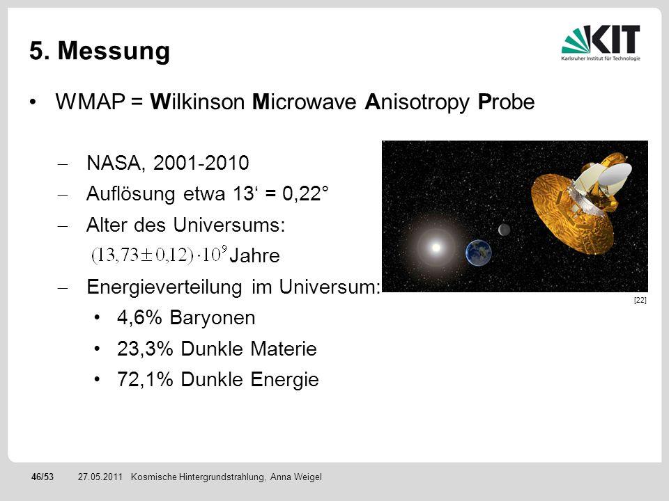 46/5327.05.2011 5. Messung WMAP = Wilkinson Microwave Anisotropy Probe NASA, 2001-2010 Auflösung etwa 13 = 0,22° Alter des Universums: Jahre Energieve