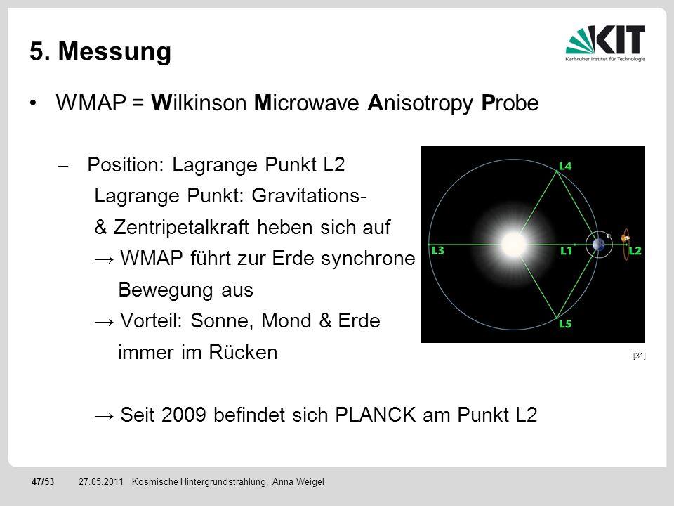 47/5327.05.2011 5. Messung WMAP = Wilkinson Microwave Anisotropy Probe Position: Lagrange Punkt L2 Lagrange Punkt: Gravitations- & Zentripetalkraft he