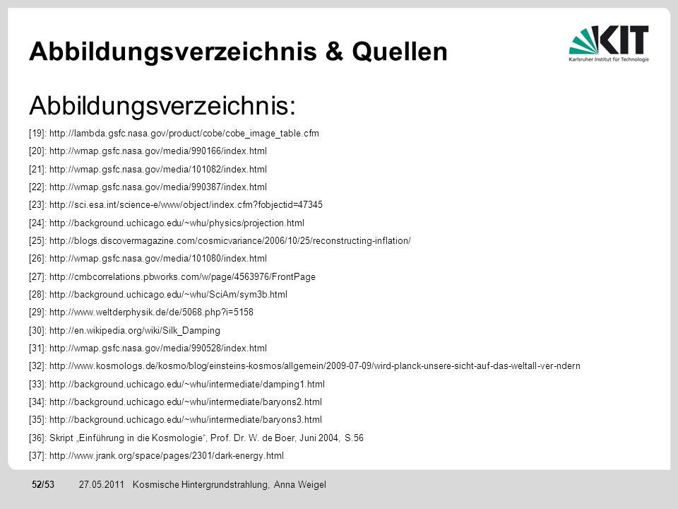 52/5327.05.2011 Abbildungsverzeichnis & Quellen Kosmische Hintergrundstrahlung, Anna Weigel Abbildungsverzeichnis: [19]: http://lambda.gsfc.nasa.gov/p