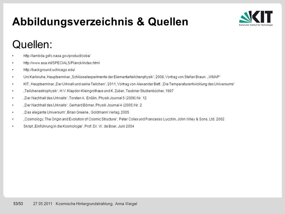 53/5327.05.2011 Abbildungsverzeichnis & Quellen Kosmische Hintergrundstrahlung, Anna Weigel Quellen: http://lambda.gsfc.nasa.gov/product/cobe/ http://