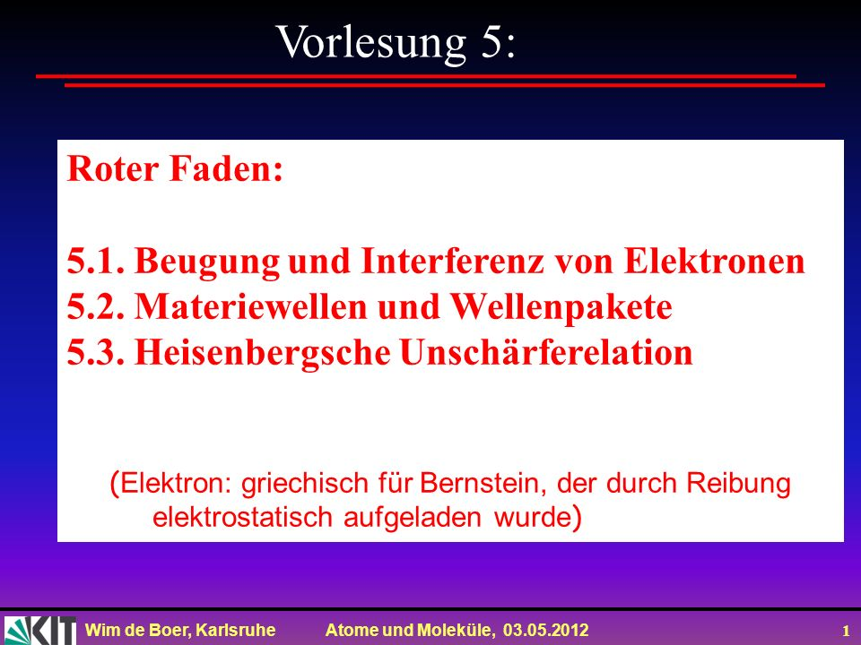 Wim de Boer, Karlsruhe Atome und Moleküle, 03.05.2012 1 Vorlesung 5: Roter Faden: 5.1. Beugung und Interferenz von Elektronen 5.2. Materiewellen und W