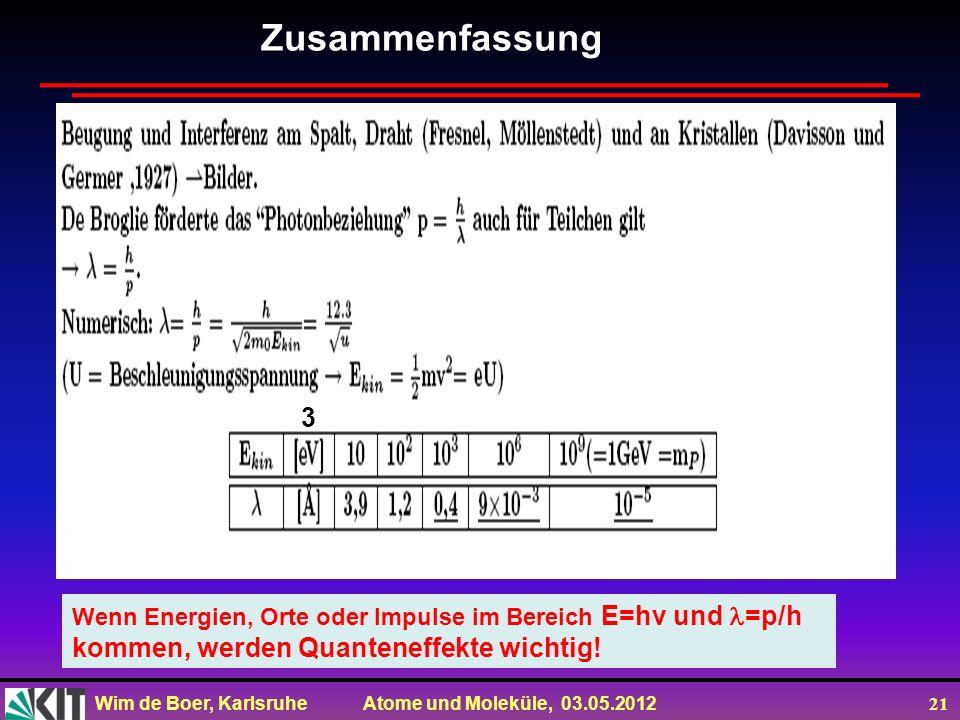 Wim de Boer, Karlsruhe Atome und Moleküle, 03.05.2012 21 Zusammenfassung 3 Wenn Energien, Orte oder Impulse im Bereich E=hv und =p/h kommen, werden Qu