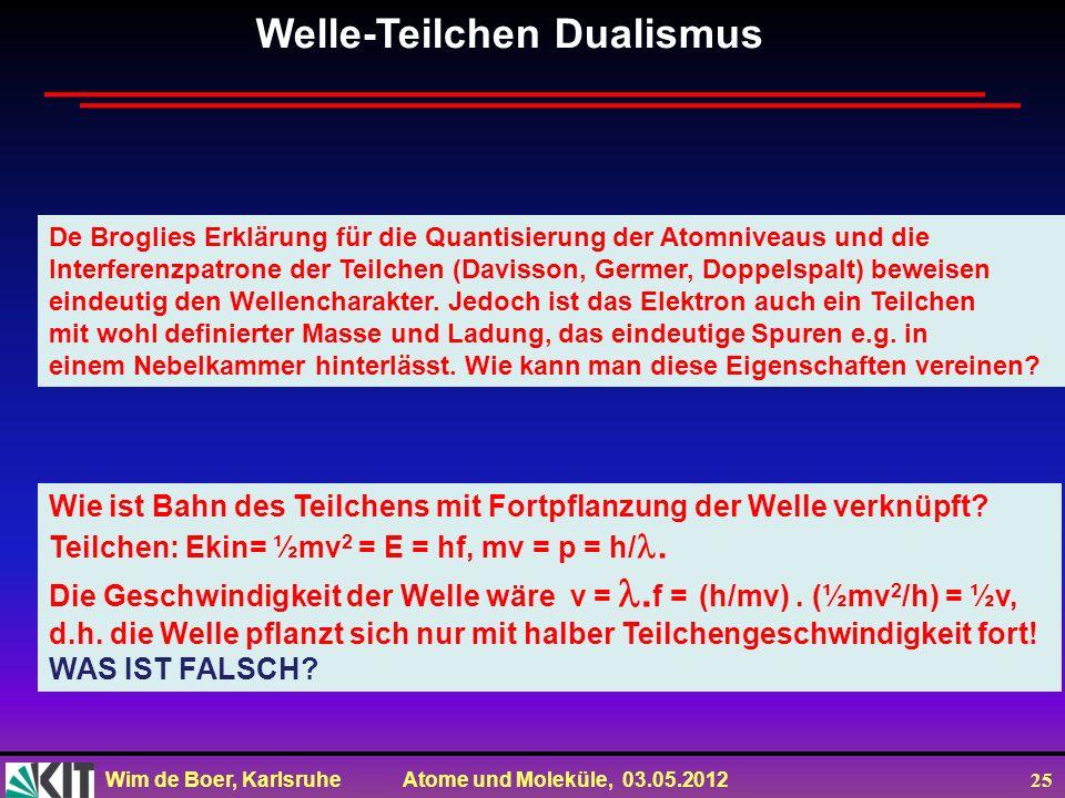 Wim de Boer, Karlsruhe Atome und Moleküle, 03.05.2012 25 Welle-Teilchen Dualismus De Broglies Erklärung für die Quantisierung der Atomniveaus und die