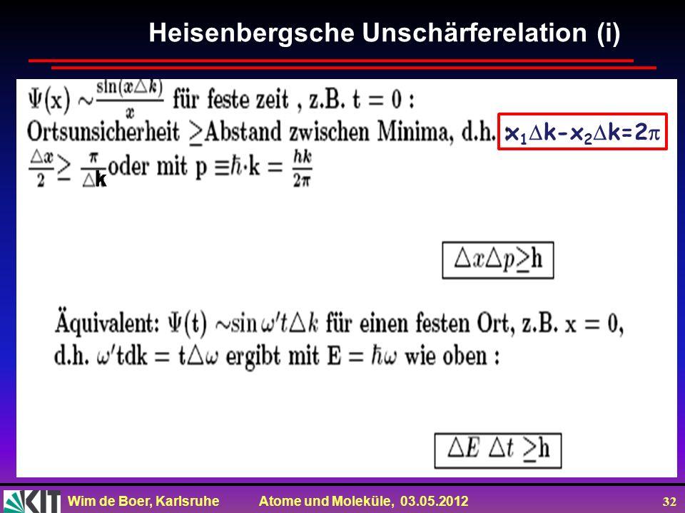 Wim de Boer, Karlsruhe Atome und Moleküle, 03.05.2012 32 Heisenbergsche Unschärferelation (i) k k k k x 1 k-x 2 k=2