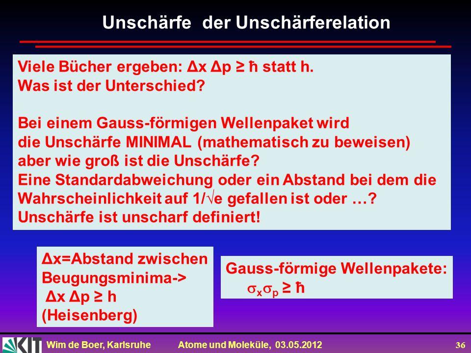 Wim de Boer, Karlsruhe Atome und Moleküle, 03.05.2012 36 Unschärfe der Unschärferelation Viele Bücher ergeben: Δx Δp ħ statt h. Was ist der Unterschie