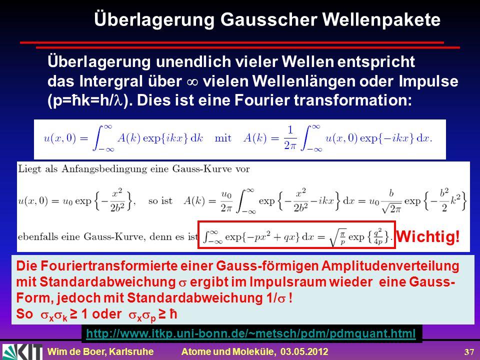 Wim de Boer, Karlsruhe Atome und Moleküle, 03.05.2012 37 Überlagerung Gausscher Wellenpakete Überlagerung unendlich vieler Wellen entspricht das Inter