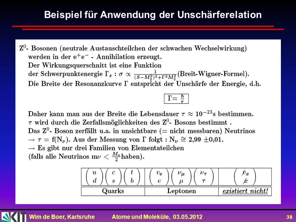 Wim de Boer, Karlsruhe Atome und Moleküle, 03.05.2012 38 Beispiel für Anwendung der Unschärferelation