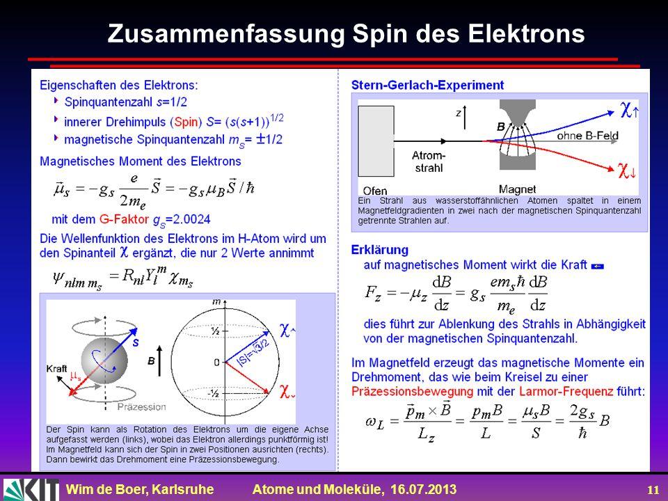 Wim de Boer, Karlsruhe Atome und Moleküle, 16.07.2013 11 Zusammenfassung Spin des Elektrons